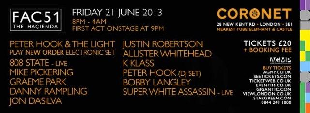 Peter Hook & The Light - Hacienda FAC 51 - June 2013