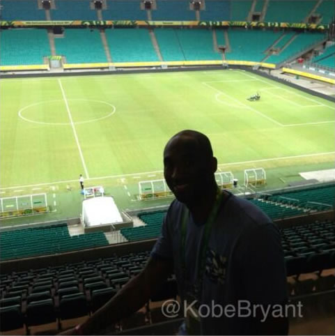 Kobe Bryant pitch-side before Brazil v Italy in the Group Stage of the Confederations Cup 2013