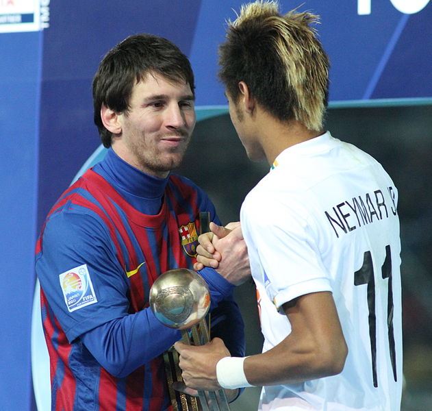 Neymar with Lionel Messi