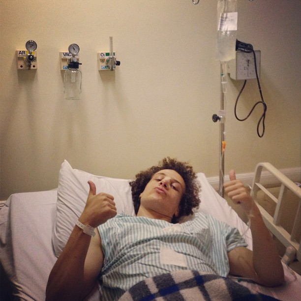 David Luiz in hospital for nose surgery