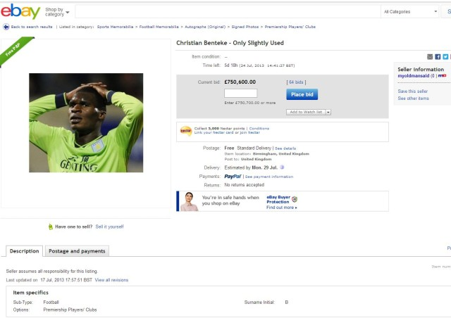 Aston Villa's Christian Benteke on eBay