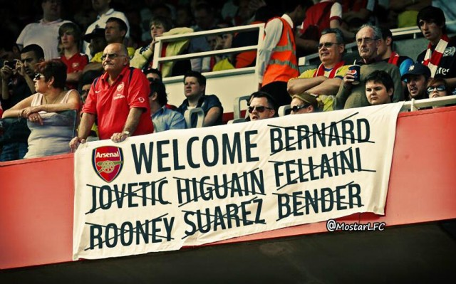 A banner welcomes a lack of new signings - the basis for the Arsenal jokes after a 3-1 home defeat to Aston Villa