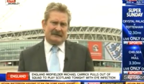 Nick Collins stars as a Sky Sports News reporter falls down during live broadcast outside Wembley