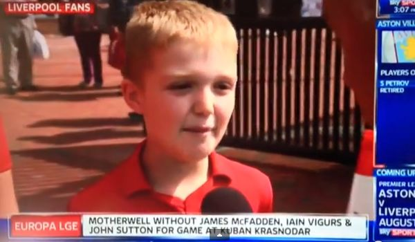 "A young Liverpool fan on Sky Sports News comments on Suárez  transfer: ""sell him, he's a vampire"""
