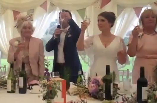The guests fall for the Raise a glass to Sir Alex Ferguson wedding toast joke