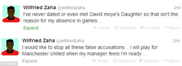 Wilfried Zaha and David Moyes's daughter caught in bed together? Denied again by Zaha on Twitter