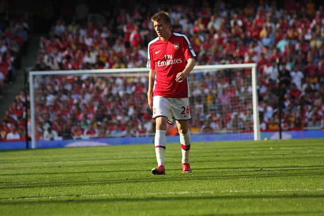 Nicklas Bendtner arrested for criminal damage, but seen here playing for Arsenal