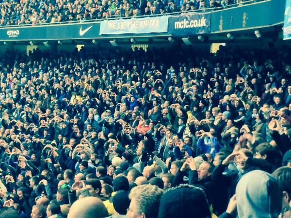 Fans do the Bale heart celebration, one of the best Manchester City 6-0 Spurs jokes