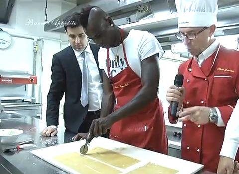 Mario Balotelli cooking on Italian TV show Buon Appetito