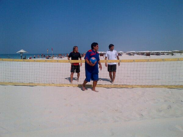 Playing volleyball with Diego Maradona