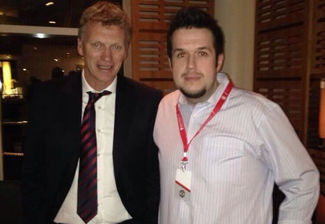 Manchester United manager David Moyes and Everton fan David D Wallbank, the author of the deleted Moyes drunk tweets