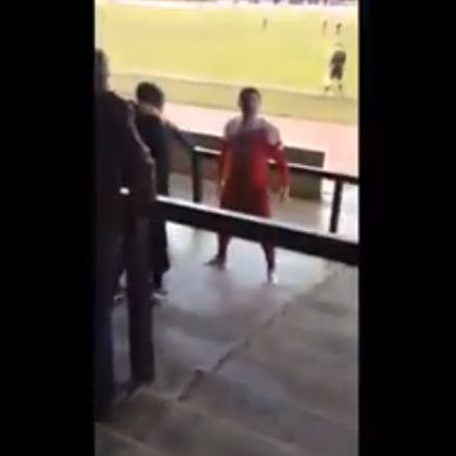 Non-league player punches fan - Goole captain Karl Colley gets ready to attack a Coalville Town supporter