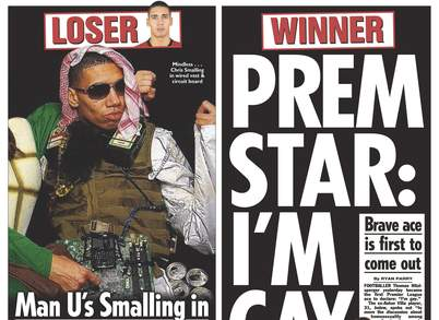 Chris Smalling's suicide bomber fancy dress outfit featured in The Sun newspaper