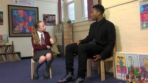 Daniel Sturridge goes to Anfield Junior School