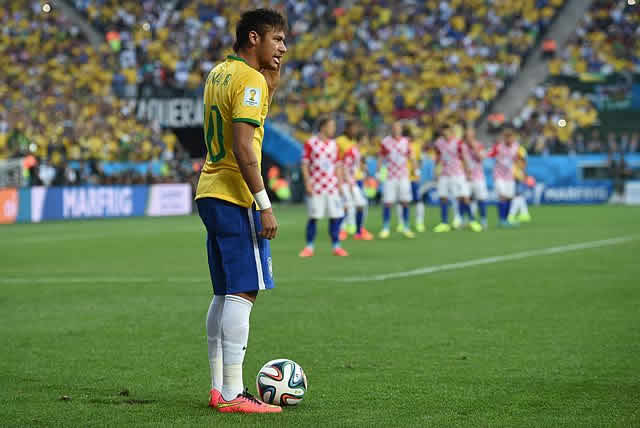 Playing for Brazil at World Cup 2014, the subject of the Neymar jokes from the hosts' semi-final loss to Germany