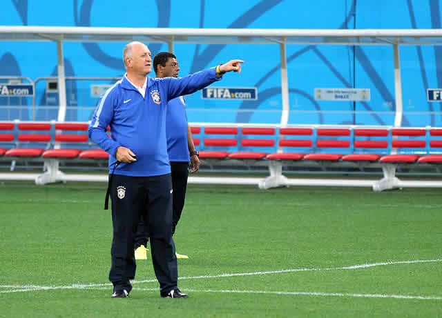 Scolari, seen here at training at Brazil 2014, was one of the World Cup mistaken identities