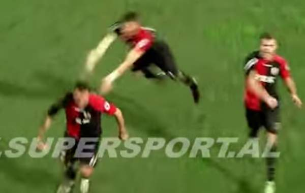A player's flying leap goal celebration misses its intended target in the Albanian Cup