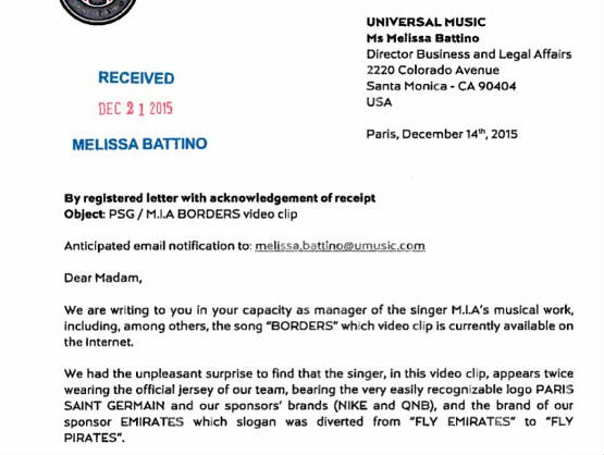 """PSG write to MIA over use of Fly Pirates shirt in """"Borders"""" video"""