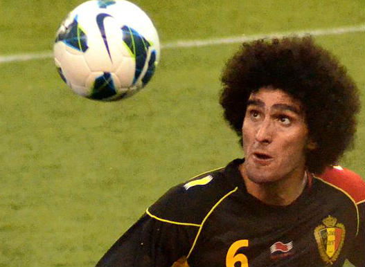 Although Marouane Fellaini elbows Robert Huth, he usually heads or chests footballs