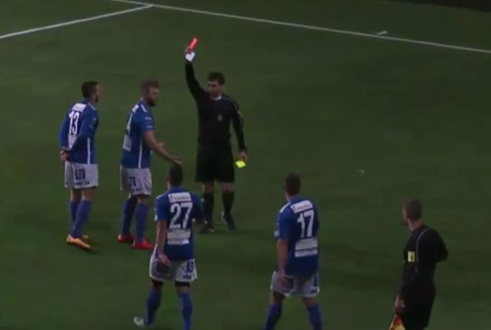 Norrby's Medi Dresevic is sent off for cheering his goal from the stands after scoring a hat-trick in their 6-1 win over Tvååkers in Sweden's Division 1