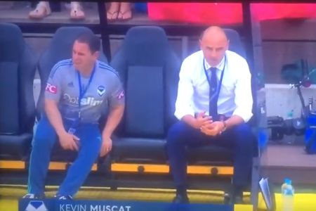 Darren Davies, Melbourne Victory coach farts on bench