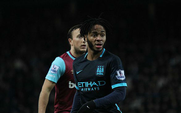 West Ham's Mark Noble and Man City's Raheem Sterling