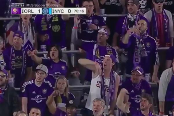 Orlando City fans sing Move bitch, get off the pitch! to injured NYC player Maxime Chanot