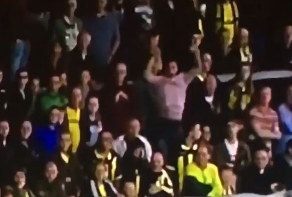 Birmingham fan in the home end at Burton cuts short his goal celebration during 2-1 defeat