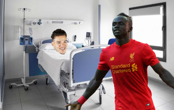 Sadio Mané visits Ederson's head in hospital after kicking it off