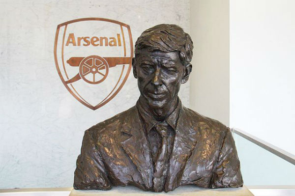 A bust of Arsenal manager Arsène Wenger