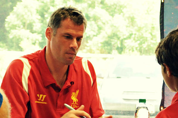 Here's Jamie Carragher not spitting at a youngster