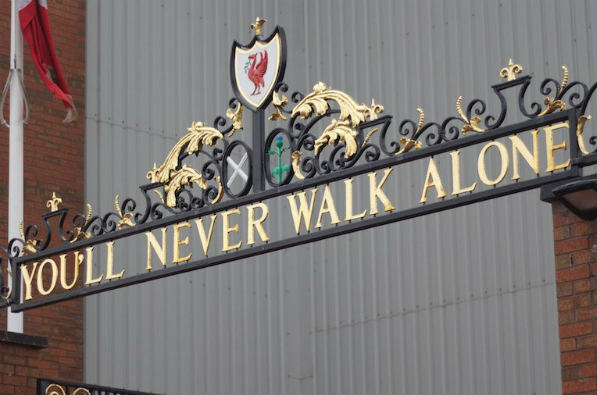 You'll Never Walk Alone sign at Anfield