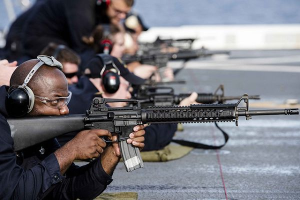 An M16 assault rifle, the weapon that formed the basis for the Raheem Sterling tattoo jokes