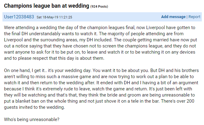 Mumsnet user invited to Liverpool wedding during the Champions League final and watching it is banned