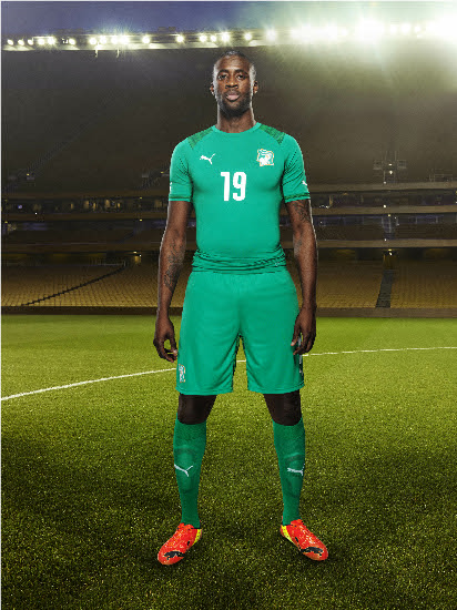 Ivory Coast (Côte d'Ivoire) 2014  World Cup and 2015 Africa Cup of Nations PUMA Soccer Jersey, Maillot, Football Shirt