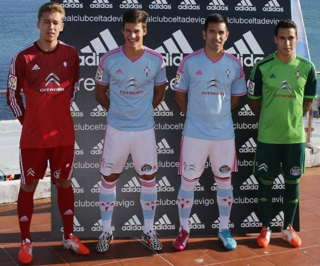 Celta de Vigo 2014 2015 adidas Home and Away Football Kit, Soccer Jersey, Shirt