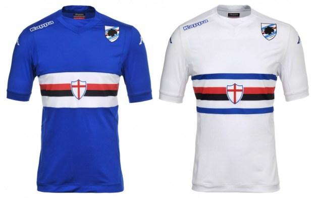 UC Sampdoria 2014 2015 Kappa Home, Away, Third Football Kit, Soccer Jersey, Maglia, Gara