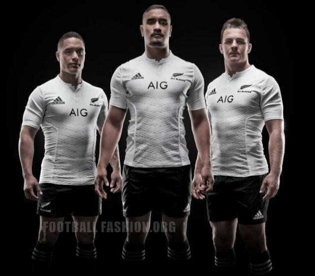 New Zealand All Blacks 2014 2015 White adidas Away, Alternate Shirt, Kit, Jersey