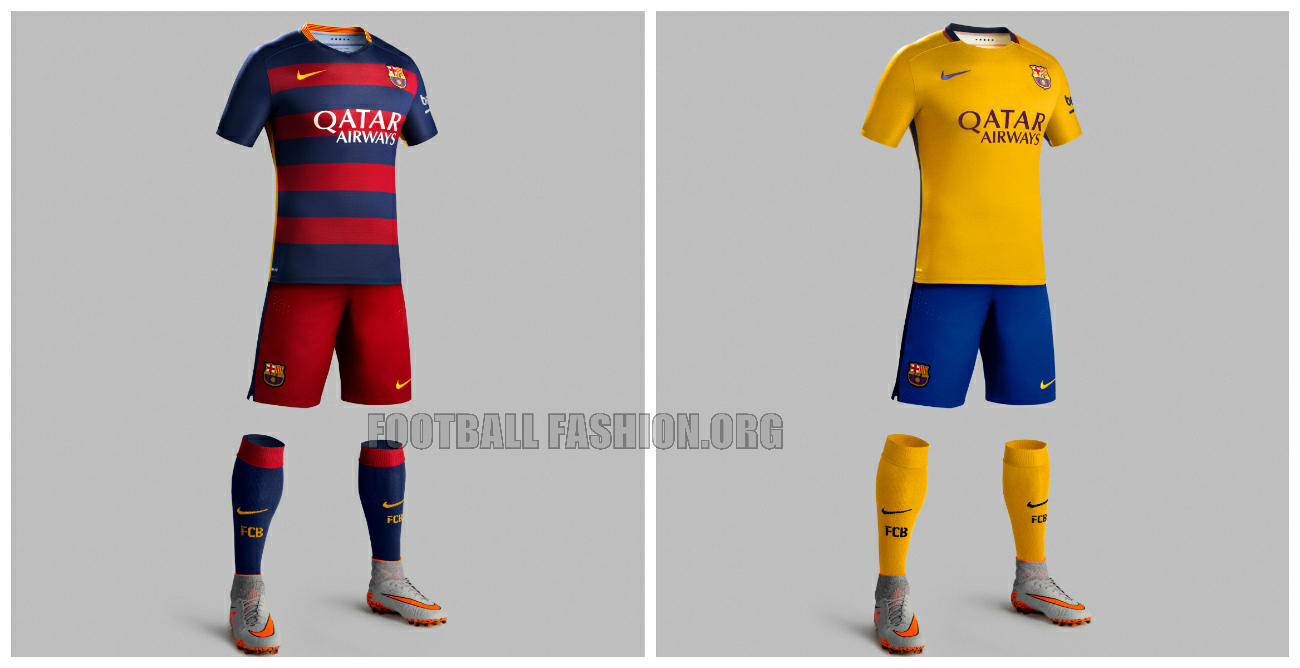 FC Barcelona 2015 2016 Hooped Nike Home and Away Football Kit, Soccer ...