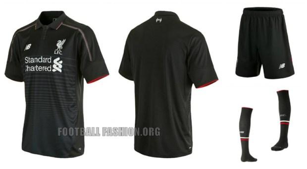 Liverpool Football Club 2015 2016 Black New Balance Home Kit, Shirt, Soccer Jersey, Camiseta de Futbol