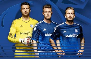 Cardiff City Football Club 2015 2016 Blue adidas Home Kit, Shirt, Soccer Jersey