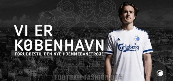 FC Copenhagen 2015 2016 adidas Home Football Kit, Soccer Jersey, Shirt, Spilletrøje