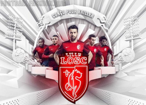 Lille OSC 2015 2016 Nike Home Football Kit, Shirt, Soccer Jersey, Maillot