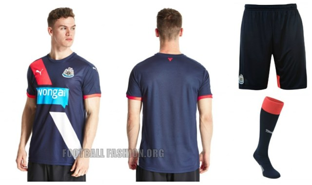 Newcastle United 2015 2016 PUMA Third Football Kit, Soccer Jersey, Shirt, Camiseta, Maillot