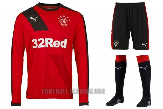 Rangers Football Club 2015 2016 PUMA Red Away Football Kit, Soccer Jersey, Shirt