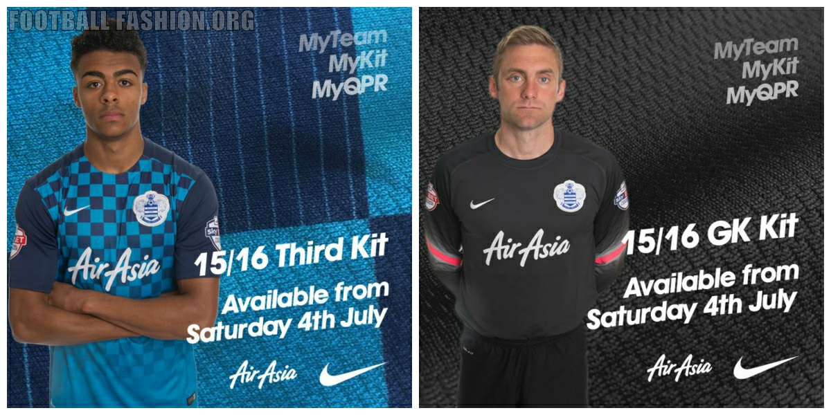 """Dark blue is used for its sleeves and gradient checkered effect. The text """" QPR"""" is printed on the upper outside back of all three kits. 9b4f9ca06"""