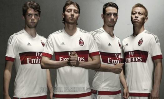AC Milan 2015 2016 adidas White Away Football Kit, Soccer Jersey, Shirt, Gara, Maglia