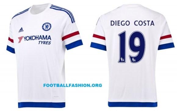 Chelsea Football Club White 2015 2016 adidas Away Kit, Soccer Jersey, Shirt, Camiseta, Maillot