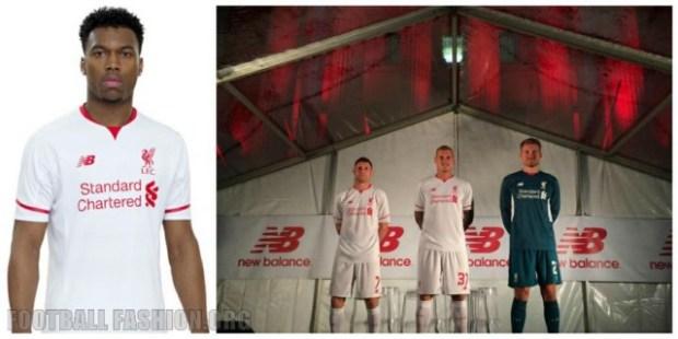Liverpool Football Club 2015 2016 White New Balance Away Kit, Shirt, Soccer Jersey, Camiseta de Futbol