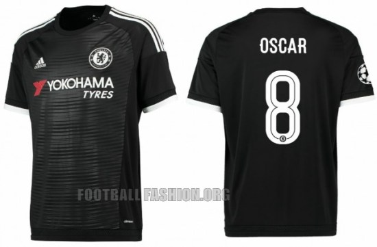 Chelsea Football Club 2015 2016 Black adidas Third Kit, Soccer Jersey, Shirt, Camiseta, Maillot, Trikot, Camisa